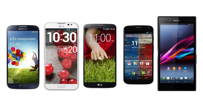 LG G2 vs. Sony Xperia Z Ultra vs. Samsung Galaxy S4 vs. Moto X vs LG Optimus G Pro