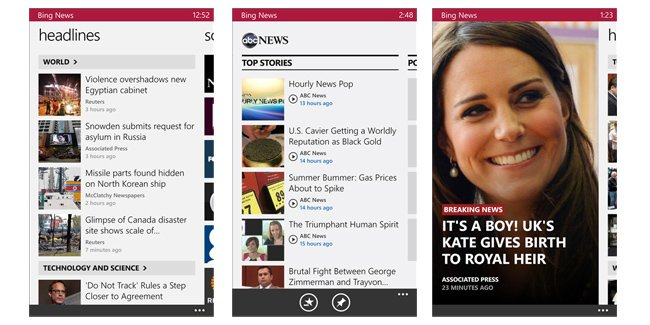 Bing apps suite arrive on Windows Phone, brings Sports, News, Weather and Finance apps to the platform