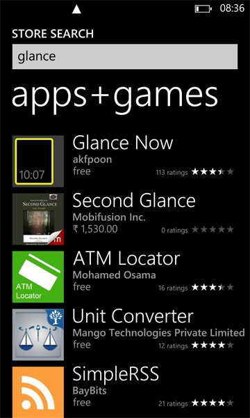 glance windows phone