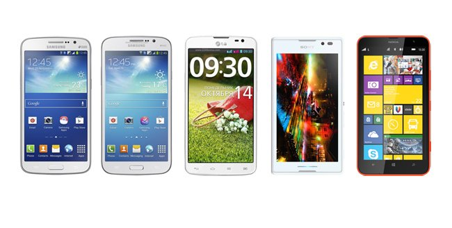 Samsung Galaxy Grand vs. Galaxy Mega 5.7 vs. LG G Pro Lite vs. Sony Xperia C vs. Nokia Lumia 1320