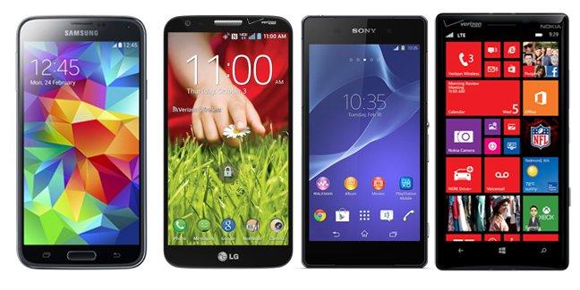 Samsung Galaxy S5 vs. Sony Xperia Z2 vs. LG G2 vs. Nokia ...